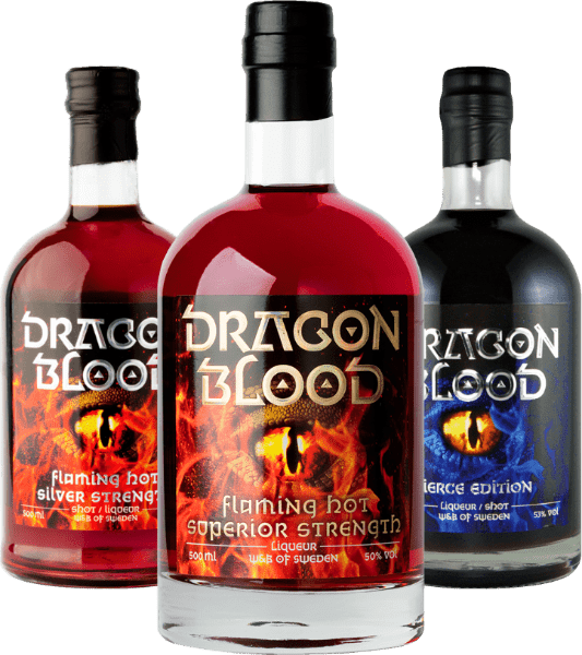 Bottles of Dragon Blood Superior Strength, Silver Strength and Fierce Edition